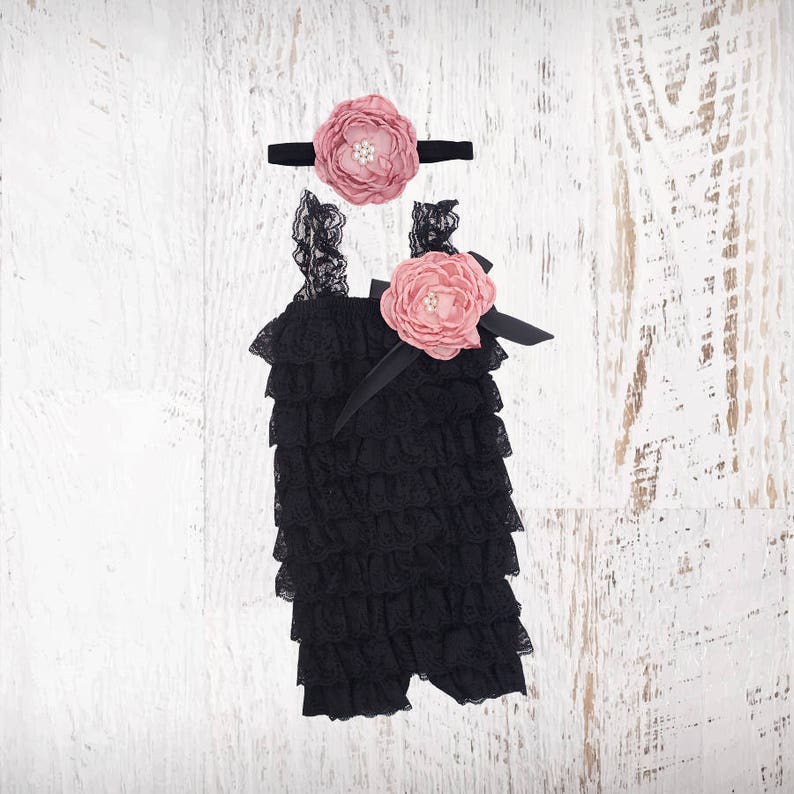 670d364988c6 Black   Vintage Rose Lace Romper 1st Birthday Girl Outfit Baby