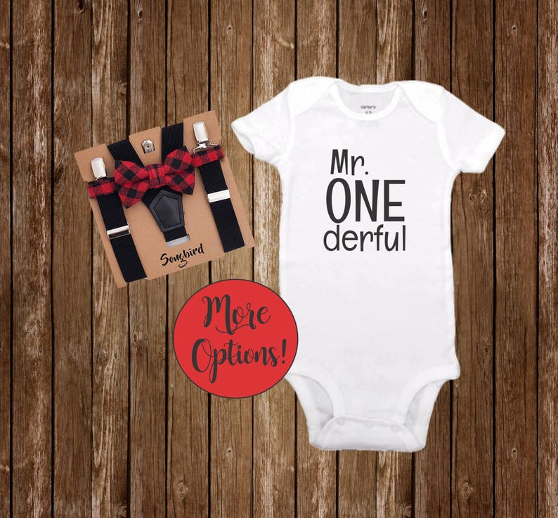 c5cb131b0 Mr Onederful 1st Birthday Boy Outfit Buffalo Plaid Bow Tie | Etsy