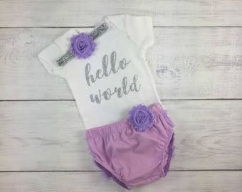 Baby Girl Newborn Take Home Outfit Hello World Onesie Bodysuit Ruffle Bloomers Shabby Flower Headband Purple and Silver Take me Home