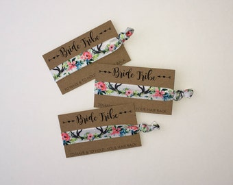 Bride Tribe Hair Ties Bachelorette Party Favors Floral Boho Bohemiam Antlers Bridesmaid Hair Tie Bridal Shower Thank You Gift Beach Wedding