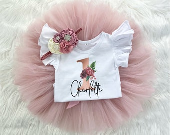 Rose Gold Mauve 1st Birthday Girl Tutu Outfit, Vintage Rose Onesie®, Blush Pink One Tutu, Burgundy Outfit Cake Smash Headband