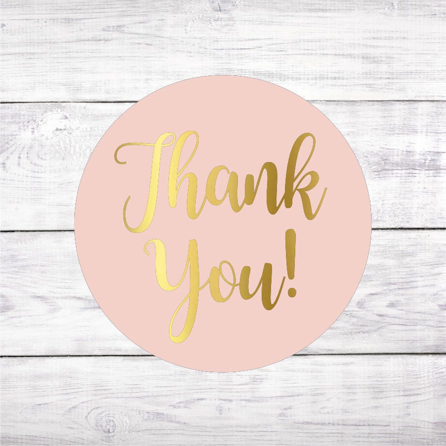 Thank You Blush Pink and Gold Favor Stickers Favour Wedding   Etsy