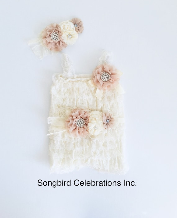 0e343c87bd03 Ivory Lace Romper 1st Birthday Girl Outfit Baby Headband