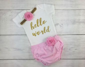 Baby Girl Newborn Take Home Outfit Hello World Onesie Bodysuit Ruffle Bloomers Shabby Flower Headband Pink and Gold Take me Home