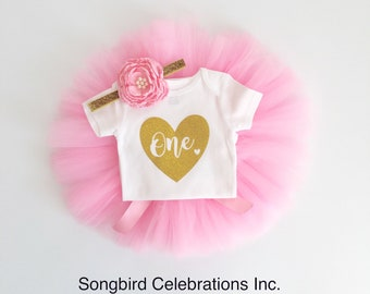 1st Birthday Outfit Girl One Tutu Outfit First Birthday Girl Cake Smash Shirt Gold Glitter Bodysuit Headband Photo Prop