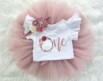 One Floral Wreath 1st Birthday Girl Mauve Rose Gold Tutu Outfit, Vintage Rose Onesie®, Cake Smash Shirt Set