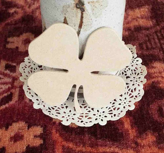 Four leaf Clover wooden mdf craft shape decoupage 4 leaf clover Irish Clover