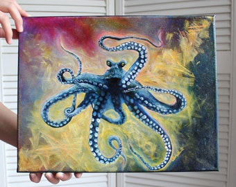 Octopus Tie Dye Painting | Bright Colors | Original Painting | Ocean Creature Artwork