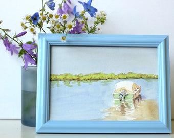 River Scene/Original Watercolour/River and Boat Painting/River Art/Nature Art - Gift, Birthday Gift