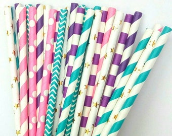 Mermaid Paper Straws - Pink, Purple, Teal, & Gold Drinking Straws - Mermaid Birthday Decorations - Mermaid Party Decorations - Pink and Teal