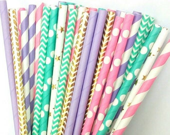 Mermaid Paper Straws - Teal, Light Purple, Pink, & Gold Drinking Straws - Mermaid Birthday Party Decorations - Purple and Aqua Decorations