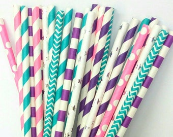 Mermaid Paper Straws - Teal, Purple, Pink & Silver Drinking Straws - Mermaid Birthday Party Decorations - Mermaid 1st Birthday Party Decor