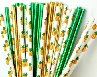 Gold Pineapple Paper Straws - Tropical Drinking Straws - Luau Party Decorations - Gold Pineapple Decorations - Summer Party Decorations