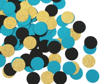 Teal Black Gold Confetti And Party Decorations Birthday TEALconfetti103