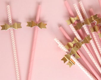 Light Pink Gold Paper Straws And Party Decorations Baby Shower Decor 1st Birthday LPNKGLDstraws104