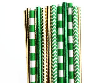 Green Gold Paper Straws And Party Decorations Birthday Zelda ZELDAstraws102