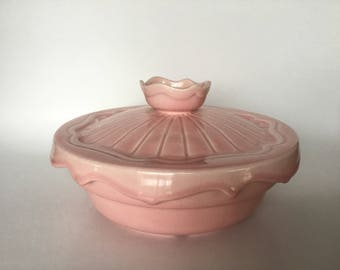 RARE Vintage 1940s-1950's Miramar of California Ovenproof 135 Pink Covered Casserole Bowl with Lid