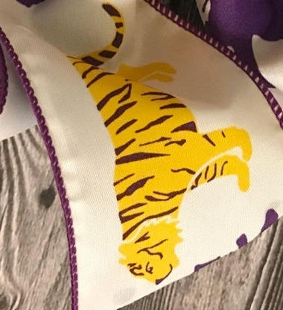 Personalized Embroidered Purple Yellow Gold LSU Spirit Hair Bow LSU Tiger Fans