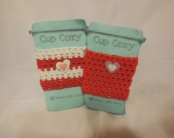 Cup Cozies - Red & White with Hearts set of 2