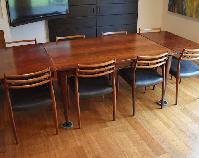 Restored Niels Moller Brazilian Rosewood dining set (expanding rectangular table, eight 78/62 chairs)