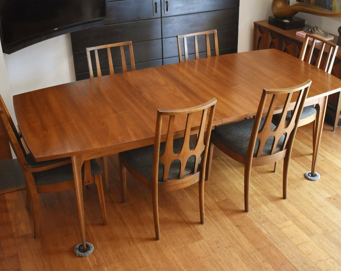 Newly-restored Broyhill Brasilia extendable dining set (table, six chairs w/new upholstery)