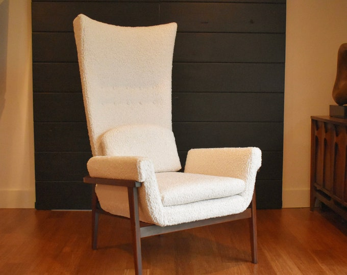 "Restored Karpen of California high-back walnut ""Throne"" lounge chair, circa 1960s"