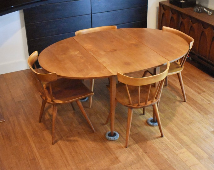 Vintage Paul Mccobb Planner Group dining set (oval drop-leaf table, four chairs)
