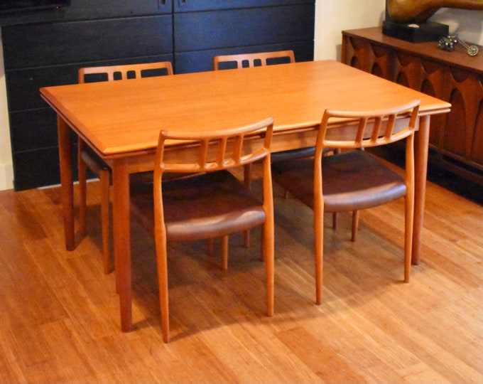 """Newly-restored Danish teak expandable dining table (57.5"""" to 104.5"""" long)"""
