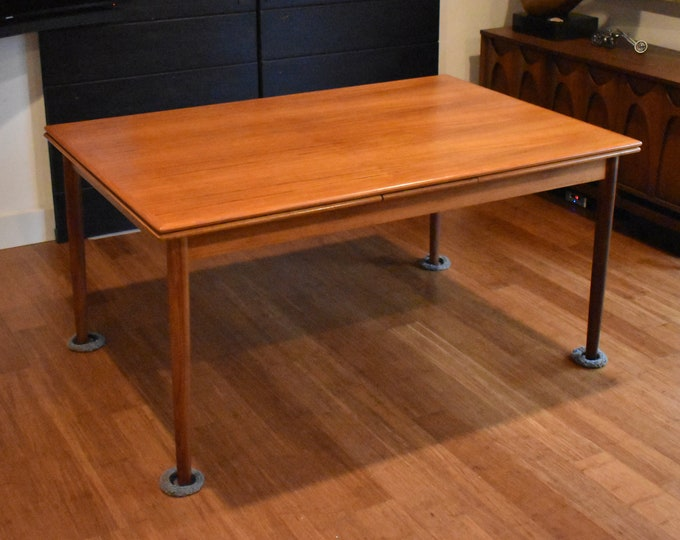 """Large, newly-restored teak expandable dining table - 106.5"""" long"""
