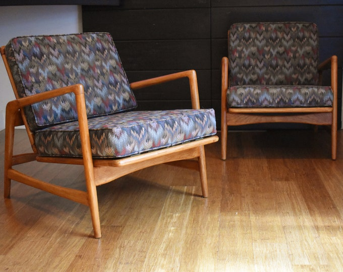 Pair of Kofod Larson style, reclining lounge chairs by Shield Chair Company of California