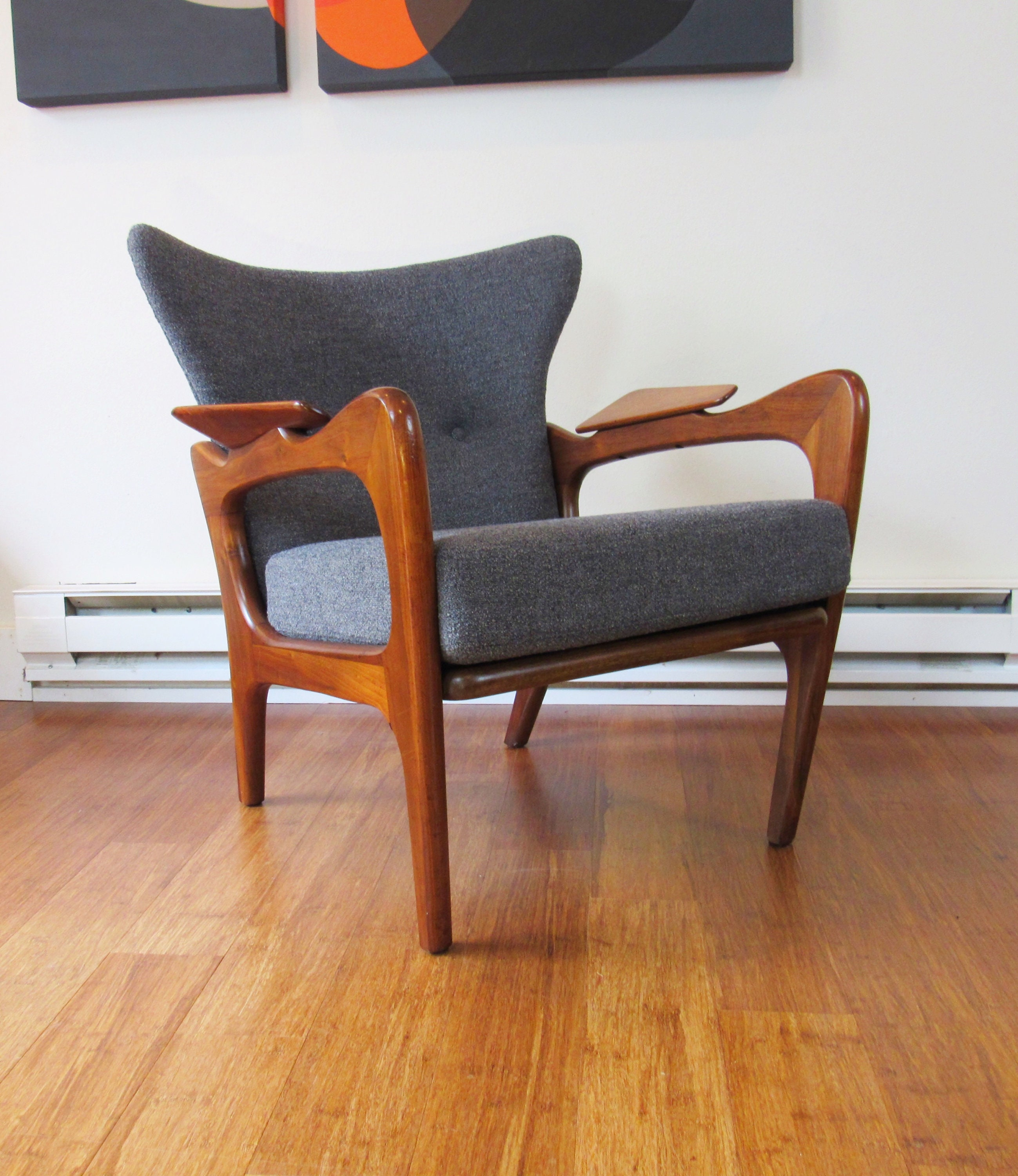 Newly Restored Wingback Lounge Chair By Adrian Pearsall For Craft  Associates (model 2291 C)