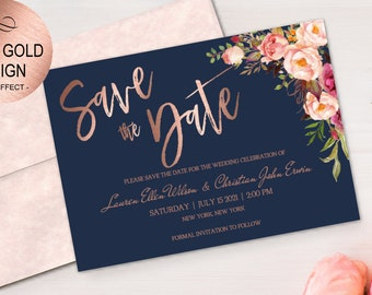 rose gold save date etsy