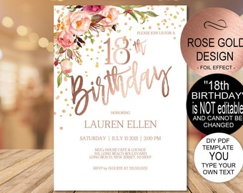 18th Birthday Invitation, Blush Rose Gold Birthday Party Invitation for Girls, DIY Printable PDF Instant Download | VRD218BWRR