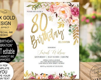 DIY 80th Birthday Invitation Template Blush Gold Floral Celebration For WomenPrintable PDF Instant Download
