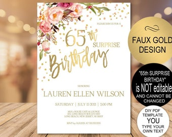 65th Surprise Birthday Invitation Blush Gold Floral Party For Women DIY Printable PDF Instant Download