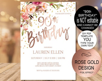 90th Birthday Invitation Blush Rose Gold Party For Women DIY Printable PDF Instant Download