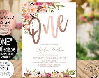 DIY Rose Gold 1st Birthday Invitation Blush Floral First Party Invite PDF Template Instant Download