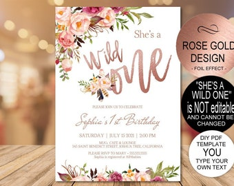 A Wild One Rose Gold Party Invite First Birthday Invitation 1st Baby Girl DIY PDF Template Instant Download