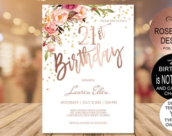 21st Birthday Invitation Blush Rose Gold Party For Women DIY Printable PDF Instant Download