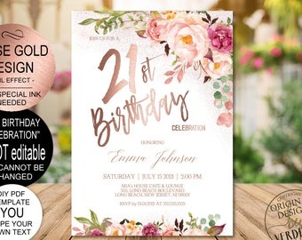 DIY 21st Birthday Invitation Template Blush Rose Gold Floral Celebration For Girls Printable PDF Instant Download