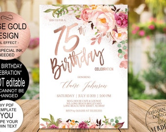DIY 75th Birthday Invitation Template Blush Rose Gold Floral Celebration For Women Printable PDF Instant Download