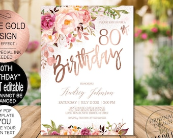 DIY 80th Birthday Invitation Blush Rose Gold Floral Party For Women Printable PDF Instant Download