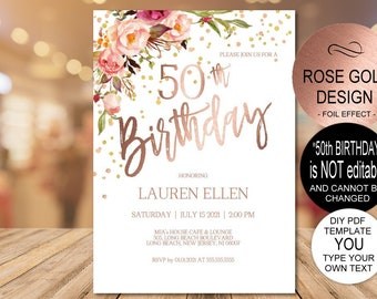 50th Birthday Invitation Blush Gold Floral Party For Women DIY Printable PDF Instant Download