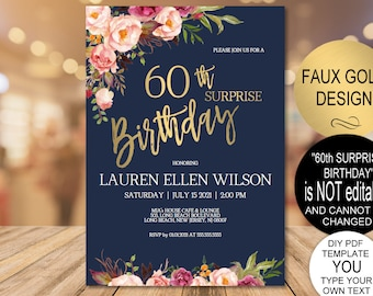 60th Surprise Birthday Invitation Blush Gold Floral Party For Women DIY Printable PDF Instant Download