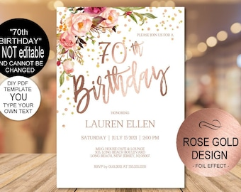 70th Birthday Invitation Blush Rose Gold Party For Women DIY Printable PDF Instant Download