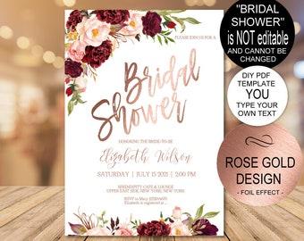 780ba9133d7d Marsala Rose Gold Bridal Shower Invitation Printable Template