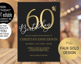 60th Birthday Invitation, Birthday Party Invitation for Men,Gold Birthday Invitation for Women,DIY Printable PDF Instant Download |VRD260BKG