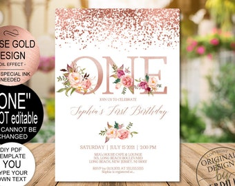 DIY Rose Gold 1st Birthday Invitation Template Blush Floral First Party Invitebaby One PDF Instant Download