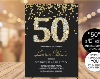 DIY 50th Birthday Invitation Printable Template Editable Party For Women PDF Instant Download