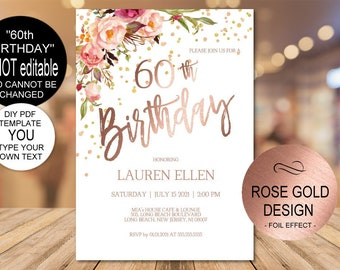 60th Birthday Invitation Blush Gold Floral Party For Women DIY Printable PDF Instant Download